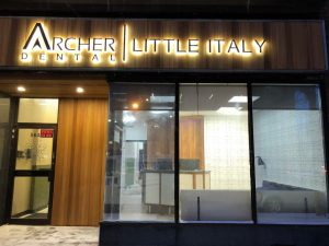 Archer Dental Little Italy at 564 College St in Toronto at night