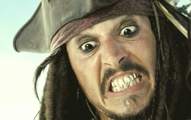 Johnny Depp had gold caps on front teeth during Pirates movies